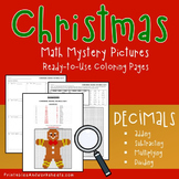 Christmas Operations With Decimals Activity, Mystery Color By Number Sheets