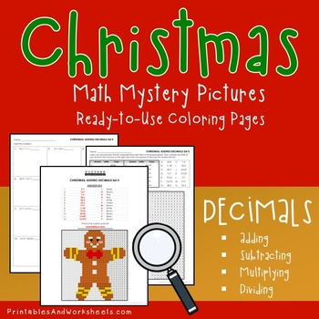 Operations with Decimals - Christmas Decimals Coloring Worksheets