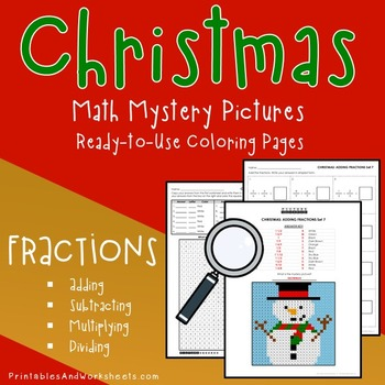 Christmas Coloring Worksheets - Add, Subtract, Multiply, D