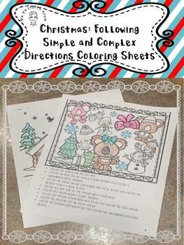 Christmas: Coloring by following simple and complex directions