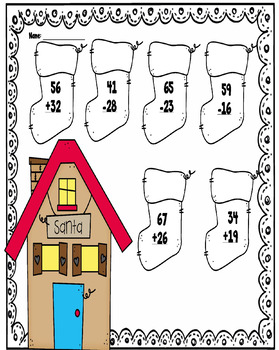 Christmas Coloring sheets- Adding and Subtracting up to 100