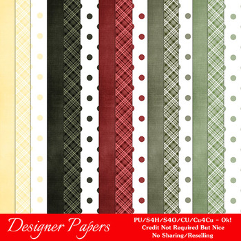 Christmas Colors 1 Scrapbook Size Digital Papers Package 2