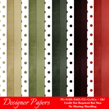 Christmas Colors 2 Scrapbook Size Digital Papers Package 2