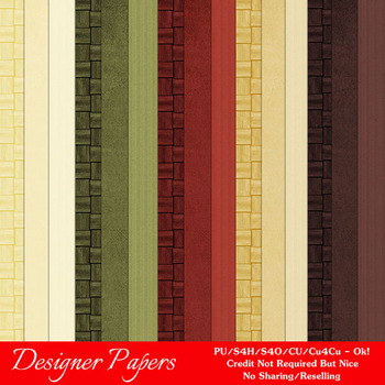 Christmas Colors 4 Scrapbook Size Digital Papers Package 2