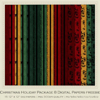 Christmas Colors 8 Scrapbook Papers FREE