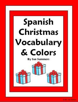 Spanish Christmas Colors 15 Sentence Worksheet & Vocabulary List - NAVIDAD