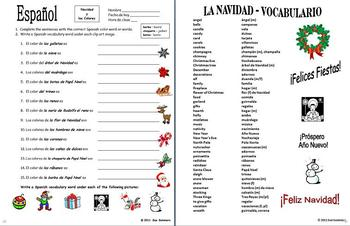 Spanish Christmas Colors 15 Sentence Worksheet Vocabulary List