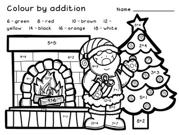 Christmas Pictures To Colour.Christmas Colour By Addition