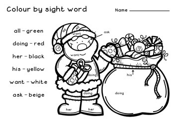 Christmas Colour by Sight Word