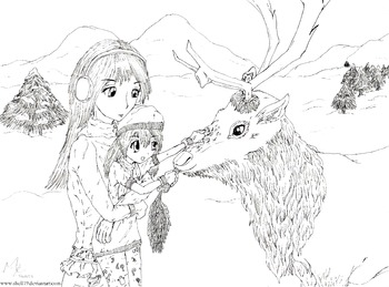 Christmas Colouring Picture- Child Feeding Reindeer