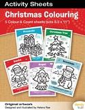 Christmas Colouring Sheets / Set of 5 / Printable