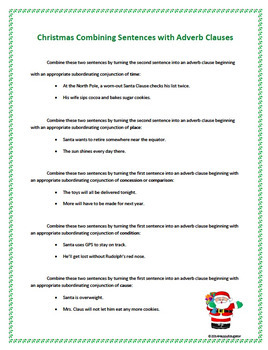 Christmas Adverb Clauses and Combining Sentences