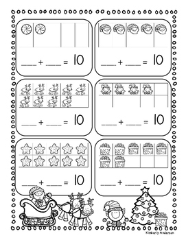 Christmas Combos of 10's - Tens Frame / Basic Facts of 10 Practice