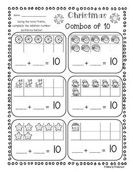 Christmas Combos of 10's - Tens Frame / Basic Facts of 10