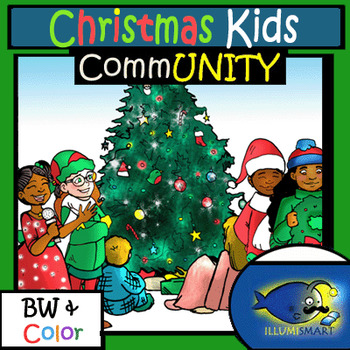 Christmas CommUNITY Kids 12 Pieces (Color and BW Clip-Art)