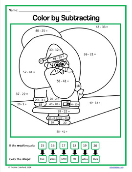 Christmas Color by Number (second grade)  Color by Addition and Subtraction