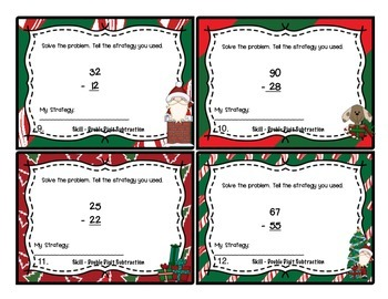 Christmas Math: Double Digit Subtraction Task Cards 2.NBT.5 for Second Grade