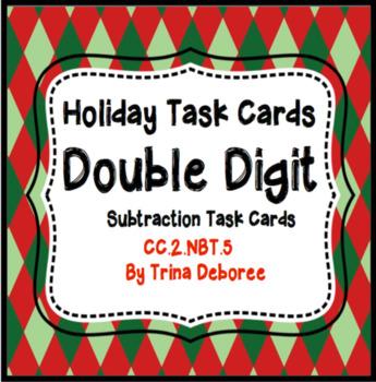Christmas Double Digit Subtraction Task Cards 2.NBT.5 for