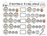 Christmas Comparing Coins Money Worksheet - Comparing Sets of Coins