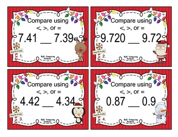 Christmas Comparing Decimals Task Cards