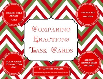Christmas Comparing Fractions Task Cards