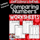 Christmas Math Comparing Numbers Worksheets FREEBIE (Greater Than/Less Than)