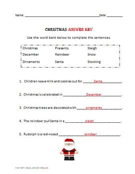 Christmas Complete the Sentence and Word Search