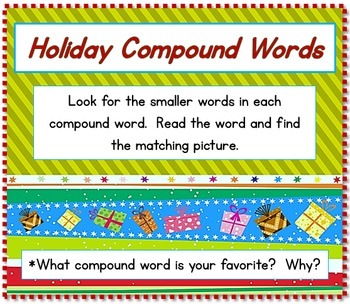 Christmas Compound Word/Illustration Puzzle Sets  BARGAIN PRICE