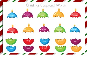 Christmas Compound Words for Smart Board