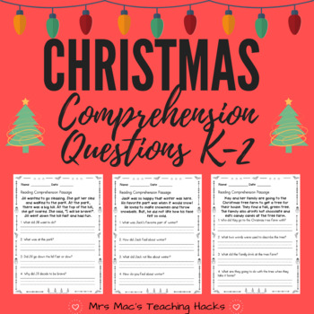 Christmas Comprehension Questions K-1 by Mrs Mac's Teaching Hacks