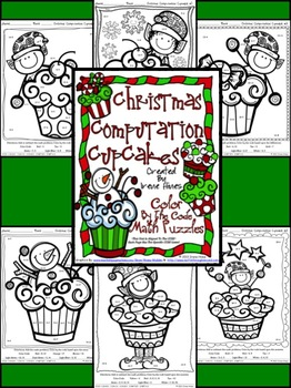 Christmas Math Activities ~ Christmas Computation Cupcakes ~ Color By The Code