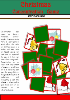 Christmas Concentration, Printable Game