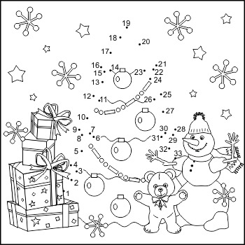 Connect The Dots And Coloring Page With Christmas Tree Commercial Use Allowed