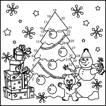 Connect the Dots and Coloring Page with Christmas Tree, Commercial Use Allowed