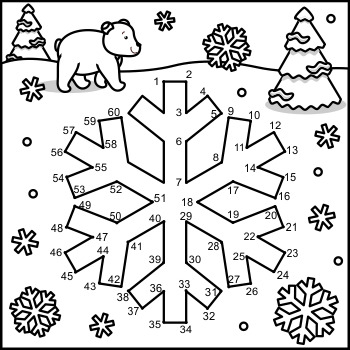 Connect the Dots and Coloring Page with Snowflake, Commercial Use Allowed