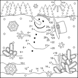 Connect the Dots and Coloring Page with Snowman, Commercia