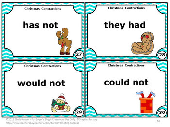Christmas Grammar Contractions Task Cards for Literacy Center Activities & Games