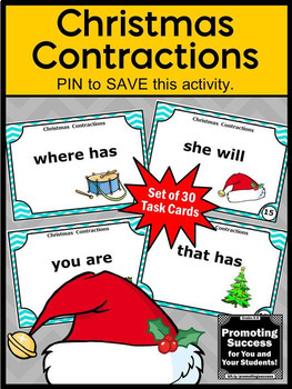 Christmas Activities, Contraction Task Cards, Christmas Literacy Center Games