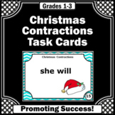 1st 2nd 3rd Grade Christmas Activities ELA Centers, Contractions Task Cards ESL