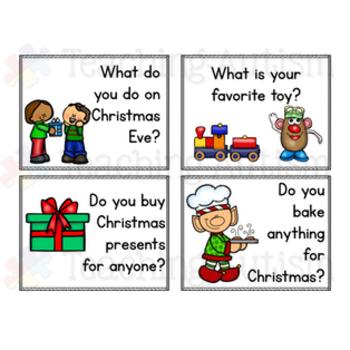 Christmas Conversation Prompt Task Cards Social Skills
