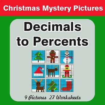 Christmas: Converting Decimals to Percents - Color-By-Number Math Mystery Pictures