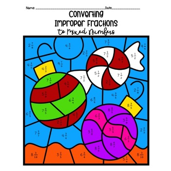 Christmas Converting Improper Fractions to Mixed Numbers Color by Number