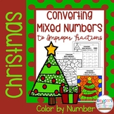 Christmas Converting Mixed Numbers to Improper Fractions Color by Number