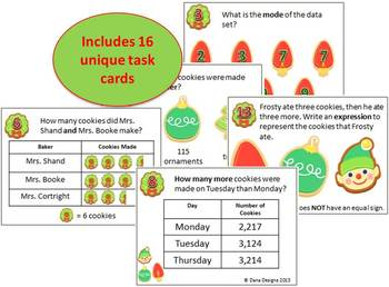 Christmas Cookie 4th Grade Math Task Cards