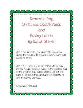 Christmas Cookie Baking Steps and Labels for Dramatic Play