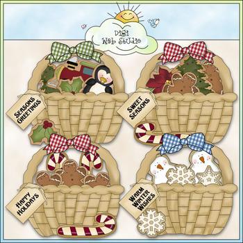 Christmas Cookie Baskets Clip Art - Christmas Clip Art - CU Colored Clip Art
