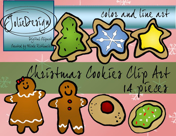 Christmas Cookie Clipart Color And Line Art 14 Piece Set