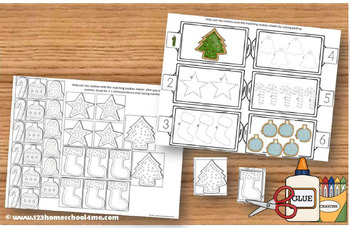Christmas Cookie Count and Color (PreK / K Math Worksheets)