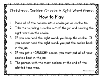 Christmas Cookie Crunch: A Sight Word Game