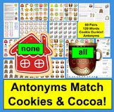 Christmas Activities: Antonyms Cookie Dunkin' Literacy Centers - 60 Pairs